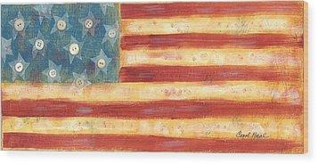 U.s. Flag Vintage Wood Print