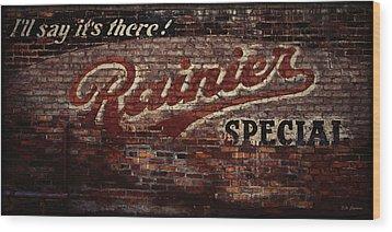 Vintage Rainier Sign Wood Print by DMSprouse Art