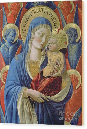 Virgin And Child With Angels Wood Print by Benozzo di Lese di Sandro Gozzoli