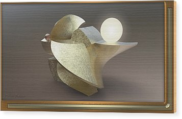 ' Wavy Cut Sculpture Light ' Wood Print