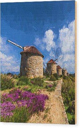 Windmills Of Portugal Wood Print