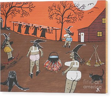 Witches Wash Day Wood Print by Jeffrey Koss