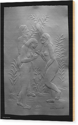Wood Print featuring the relief  Women Bathers by Suhas Tavkar