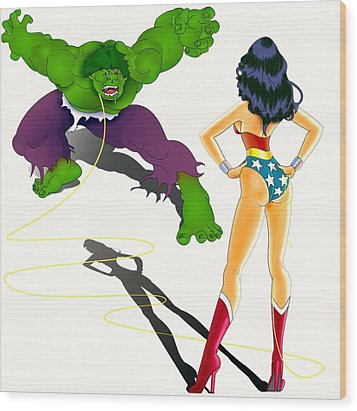 Wonder Woman Vs Hulk Wood Print by Lynn Rider
