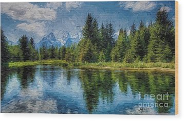 Wyoming Tetons Spruce Mountain Lake. Oil Painting . Wood Print by Heinz G Mielke