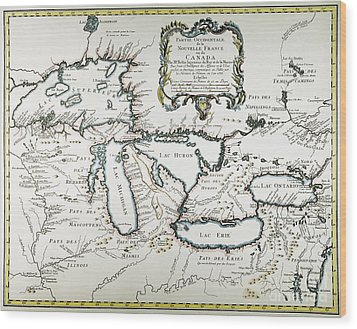 Great Lakes Map, 1755 Wood Print by Granger