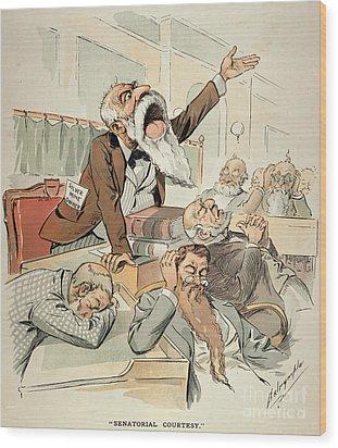 Senate Cartoon,free Silver Wood Print by Granger