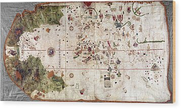 Nina: World Map, 1500 Wood Print by Granger