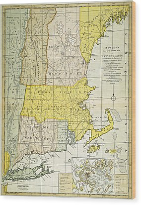 New England Map, C1775 Wood Print by Granger