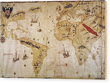 Vespucci's World Map, 1526 Wood Print by Granger