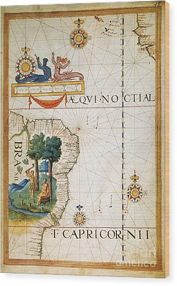 Brazil: Map And Native Indians Wood Print by Granger