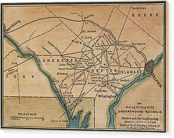 Underground Railroad Map Wood Print by Granger