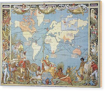 Map: British Empire, 1886 Wood Print by Granger