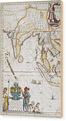 South Asia Map, 1662 Wood Print by Granger