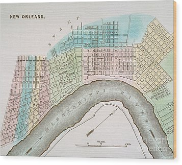 New Orleans Map, 1837 Wood Print by Granger