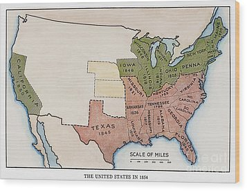 United States Map, 1854 Wood Print by Granger