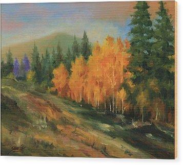 011016-1114  Autumn Aspens Wood Print by Kenneth Shanika