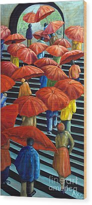 Wood Print featuring the painting 01149 Climbing Umbrellas by AnneKarin Glass