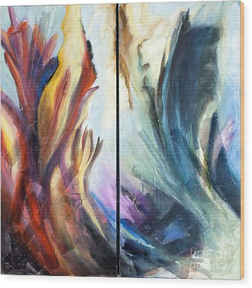 01321 Fire And Waves Wood Print by AnneKarin Glass