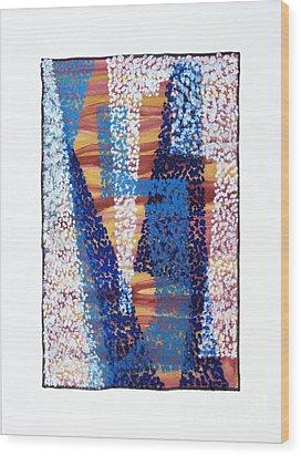 01325 Blue Too Wood Print by AnneKarin Glass