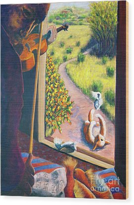 01349 The Cat And The Fiddle Wood Print by AnneKarin Glass