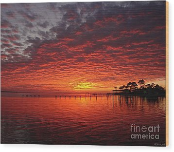 0205 Awesome Sunset Colors On Santa Rosa Sound Wood Print by Jeff at JSJ Photography
