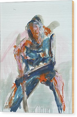 04954 Athlete Wood Print by AnneKarin Glass