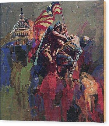 062 Jima Marine Memorial Washington Dc Wood Print by Maryam Mughal