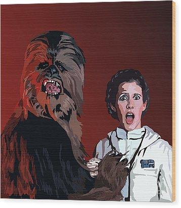 070. Naughty Wookie Wood Print by Tam Hazlewood