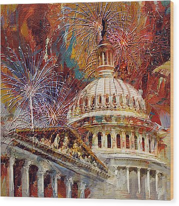 070 United States Capitol Building - Us Independence Day Celebration Fireworks Wood Print by Maryam Mughal