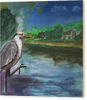 071115 Blue Heron Pastel Sketch Wood Print
