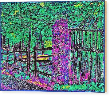 08f  Fences Of Maine Wood Print by Ed Immar