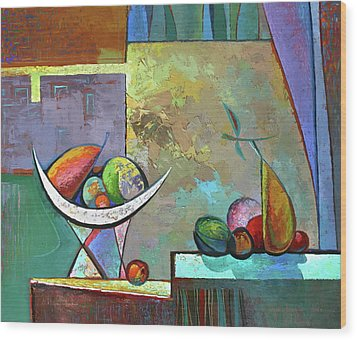 Still Life With Frutit Wood Print by Alexey Kvaratskheliya