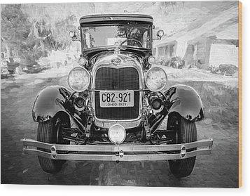 1929 Ford Model A Tudor Police Sedan Bw Wood Print by Rich Franco