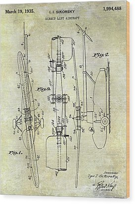 1935 Helicopter Patent  Wood Print by Jon Neidert