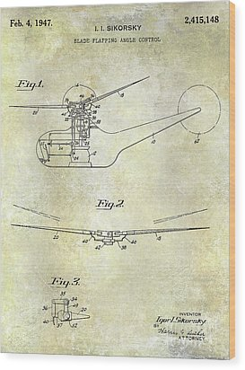 1947 Helicopter Patent Wood Print by Jon Neidert