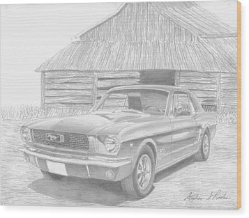 1966 Ford Mustang Classic Car Art Print Wood Print by Stephen Rooks