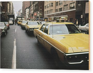1970s America. Yellow Taxi Cabs Wood Print by Everett