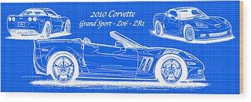 2010 Corvette Grand Sport - Z06 - Zr1 Reverse Blueprint Wood Print