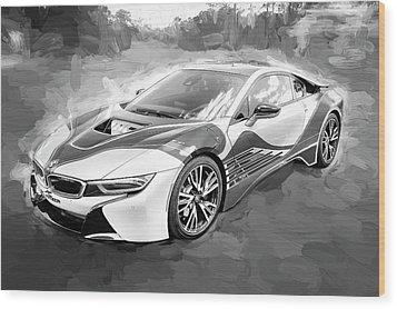 2015 Bmw I8 Hybrid Sports Car Bw Wood Print by Rich Franco