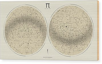 2017 Pi Day Star Chart Azimuthal Projection Wood Print by Martin Krzywinski