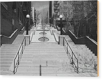 215th Street Stairs Wood Print