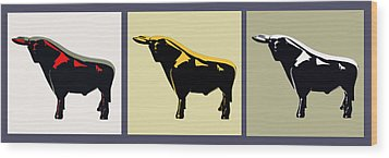 3 Bulls Wood Print by Slade Roberts
