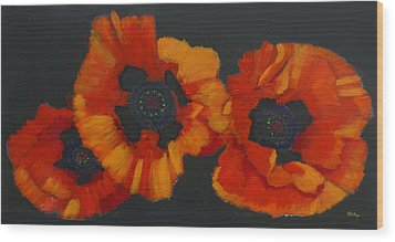 3 Poppies Wood Print