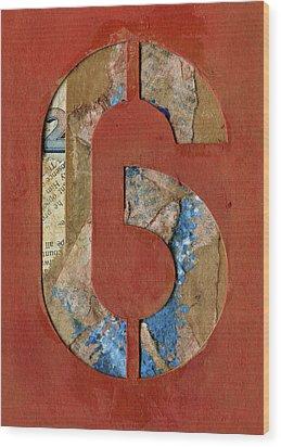 6 Wood Print