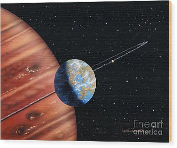 70 Virginis B And Moons Wood Print by Lynette Cook