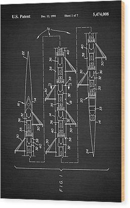 8 Man Rowing Shell Patent Wood Print by Taylan Apukovska