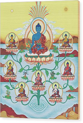 8 Medicine Buddhas Wood Print by Carmen Mensink