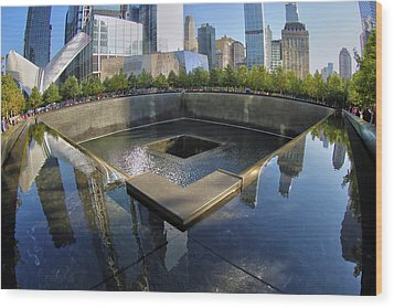Wood Print featuring the photograph 9/11 Memorial by Mitch Cat
