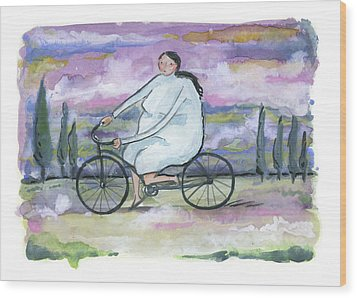 Wood Print featuring the painting A Beautiful Day For A Ride by Leanne WILKES
